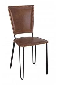 Krzesło skórzane ASHANTI - brązowy