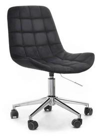 Fotel welurowy ELIOR - czarny/chrom