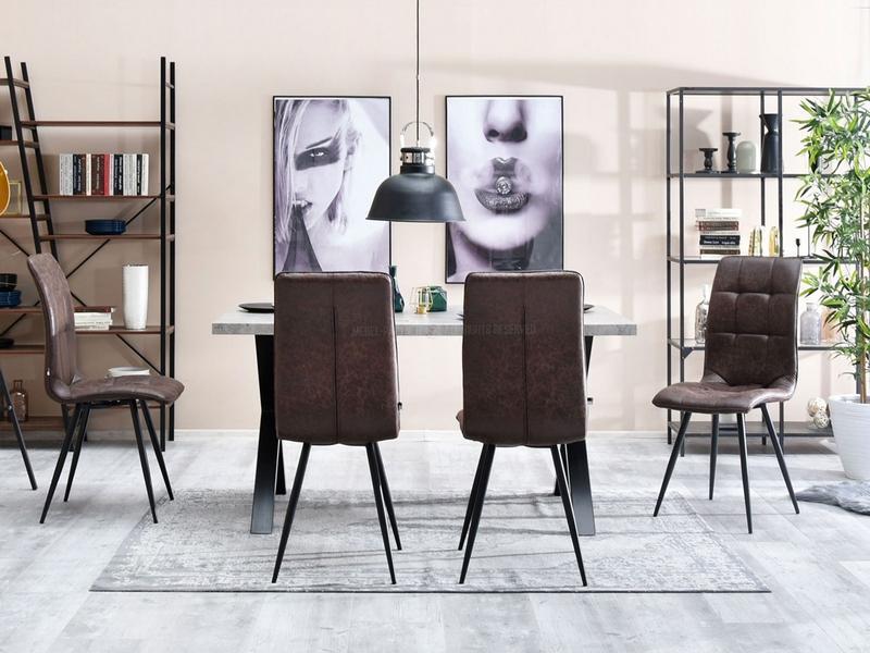 Stylowe Krzesło Do Salonu Pikowane Berber Brąz