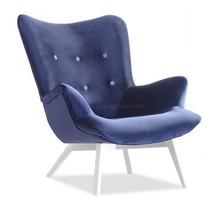 Fotel uszak welurowy FLORI - granatowy/biały