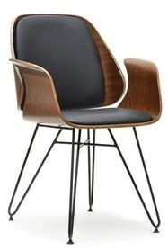 Krzesło z giętym siedziskiem SILA - orzech/czarny