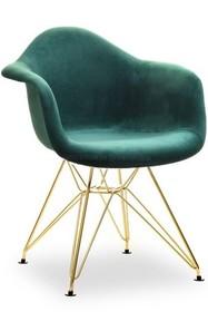 Krzesło welurowe MPA ROD TAP - zielony welur/złoty