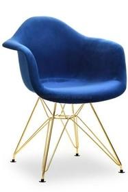 Krzesło welurowe MPA ROD TAP - granatowy welur/złoty