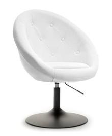 Fotel obrotowy z ekoskóry LOUNGE 3 - biały/czarny