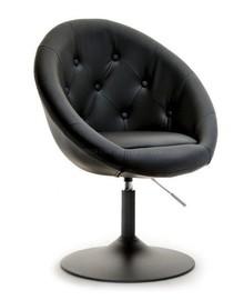 Fotel obrotowy z ekoskóry LOUNGE 3 - czarny/czarny