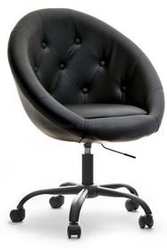 Fotel z ekoskóry LOUNGE 4 - czarny/czarny