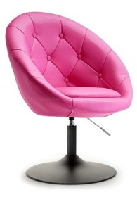 Fotel obrotowy z ekoskóry LOUNGE 3 - różowy/czarny