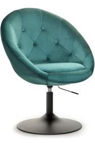 Fotel obrotowy velvet LOUNGE 3 - zielony/czarny