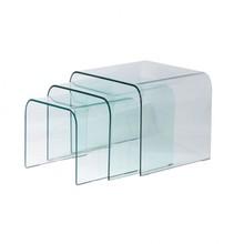 Zestaw 3 szklanych stolików TRIS