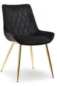 Krzesło welurowe ADEL - czarny/złoty