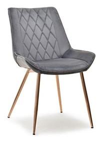 Krzesło z przeszyciami ADEL - szary/miedź