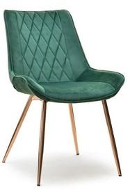 Krzesło z przeszyciami ADEL - zielony/miedź