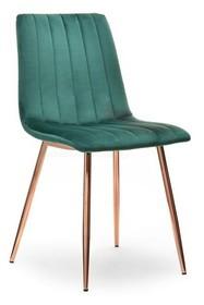 Krzesło welurowe MEGAN - zielony/miedź