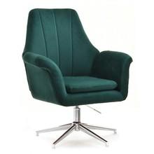 Fotel welurowy KING - zielony/chrom