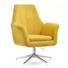 Fotel welurowy KING - żółty/chrom