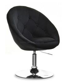 Fotel obrotowy velvet LOUNGE 3 - czarny/chrom