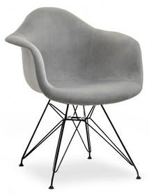 Krzesło welurowe MPA ROD TAP - szary welur/czarny