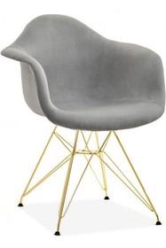 Krzesło welurowe MPA ROD TAP - szary welur/złoty