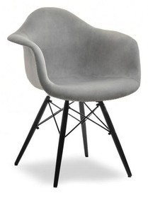 Krzesło kubełkowe MPA WOOD TAP - szary welur/czarny