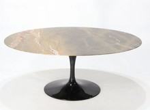 Stół owalny z marmurowym blatem TULIA - Forest Green