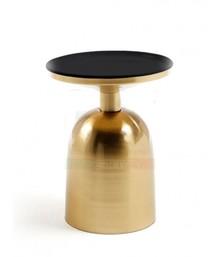Okrągły stolik metalowy INQU - czarny/złoty
