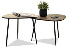Komplet 2 stolików kawowych ROSIN S+XL - dąb sonoma/orzech