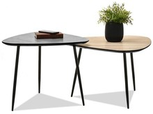 Zestaw 2 stolików ROSIN XL+S - dąb sonoma/beton