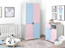 Szafa do pokoju dziecięcego ROZI R1 - różowy/niebieski