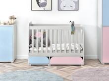 Łóżeczko z szufladami ROZI R5 - różowy/niebieski