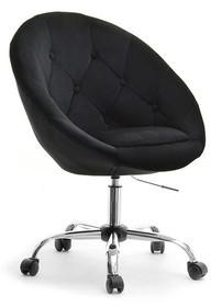 Fotel welurowy LOUNGE 4 - czarny/chrom