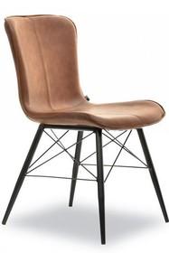 Krzesło z ekoskóry MARGOT - brązowy