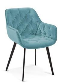 Krzesło pikowane DERMUL - niebieski