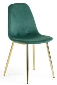 Krzesło tapicerowane SYLIS - zielony/złoty
