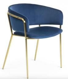 Krzesło z niskim oparciem NIEKON - granatowy/złoty