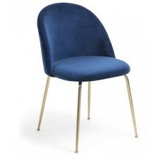 Krzesło tapicerowane TEREMYS - granatowy/złoty