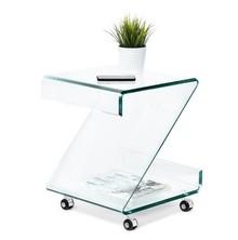Stolik szklany na kółkach HEWLIT - transparentny