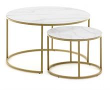 Zestaw 2 okrągłych stolików LENOR - efekt marmuru
