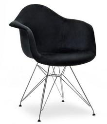 Krzesło welurowe MPA ROD TAP - czarny welur/chrom
