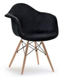 Krzesło kubełkowe MPA WOOD TAP - czarny welur/buk