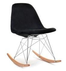 Krzesło bujane MPC ROC TAP - czarny welur/buk