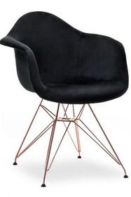 Krzesło welurowe MPA ROD TAP - czarny welur/miedź