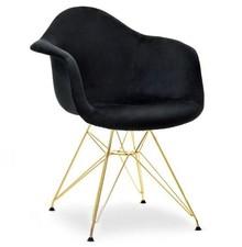 Krzesło welurowe MPA ROD TAP - czarny welur/złoty