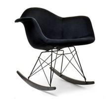 Fotel bujany MPA ROC TAP - czarny welur/orzech