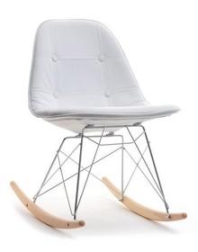 Krzesło bujane MPC ROC TAP - biała ekoskóra/buk