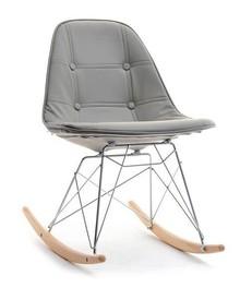 Krzesło bujane z ekoskóry MPC ROC TAP - szary/buk