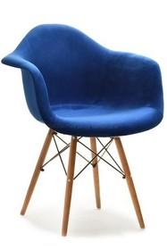Krzesło kubełkowe MPA WOOD TAP - granatowy welur/orzech