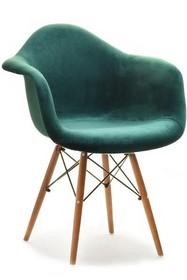 Krzesło kubełkowe MPA WOOD TAP - zielony welur/orzech