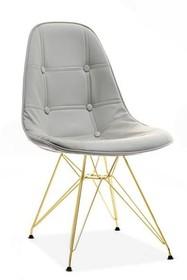 Krzesło MPC ROD TAP - szara ekoskóra/złoty