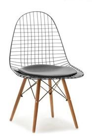 Krzesło metalowe MPC WIRE WOOD - czarny/orzech