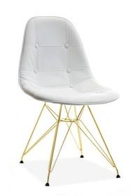 Krzesło MPC ROD TAP - biała ekoskóra/złoty